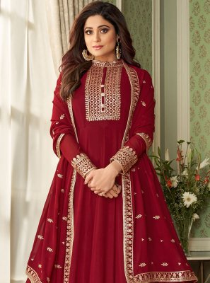 Shamita Shetty Faux Georgette Resham Red Floor Length Designer Suit