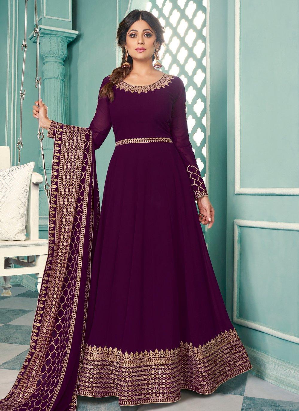 Shamita Shetty Floor Length Anarkali Suit For Festival