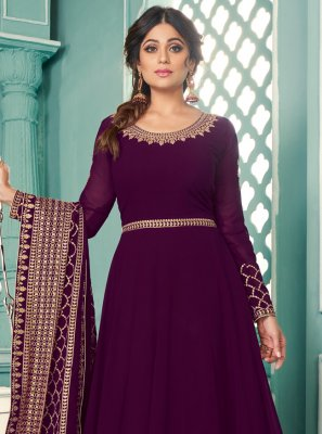 Shamita Shetty Floor Length Anarkali Suit For Festival