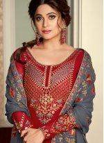 Shamita Shetty Floral Grey and Hot Pink Long Choli Lehenga