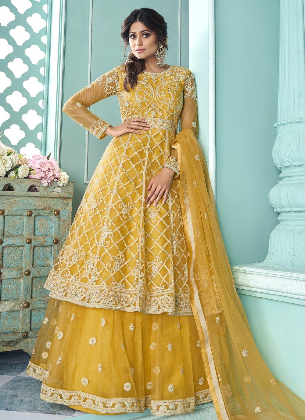 Shamita Shetty Genius Yellow Long Choli Lehenga