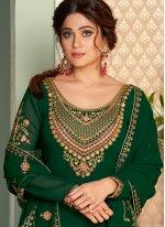 Shamita Shetty Glossy Green Long Choli Lehenga
