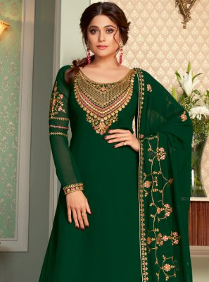 Shamita Shetty Glossy Green Long Choli Lehenga