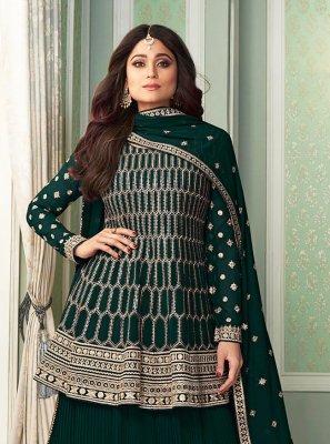 Shamita Shetty Green Faux Georgette Designer Palazzo Salwar Kameez