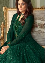 Shamita Shetty Green Faux Georgette Floor Length Anarkali Suit
