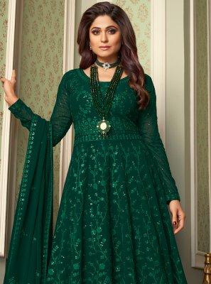 Shamita Shetty Green Faux Georgette Floor Length Anarkali Suit