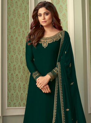 Shamita Shetty Green Party Designer Palazzo Salwar Suit