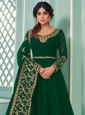 Shamita Shetty Green Sangeet Floor Length Anarkali Salwar Suit