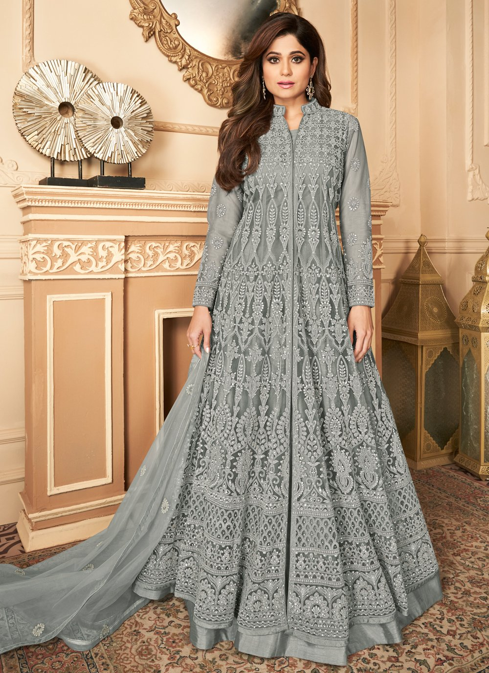 Shamita Shetty Grey Festival Designer Floor Length Salwar Suit
