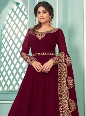 Shamita Shetty Magenta Faux Georgette Floor Length Anarkali Suit