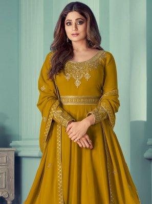 Shamita Shetty Mustard Designer Suit