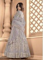 Shamita Shetty Net Grey Embroidered Floor Length Anarkali Suit