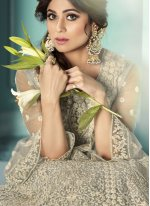 Shamita Shetty Net Grey Resham Long Choli Lehenga