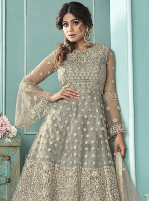 Shamita Shetty Net Grey Resham Long Choli Lehenga