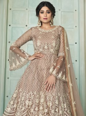 Shamita Shetty Net Lace Long Choli Lehenga