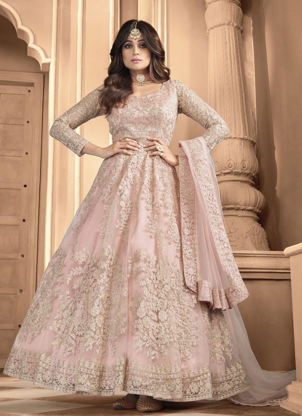 Shamita Shetty Net Pink Embroidered Floor Length Anarkali Suit