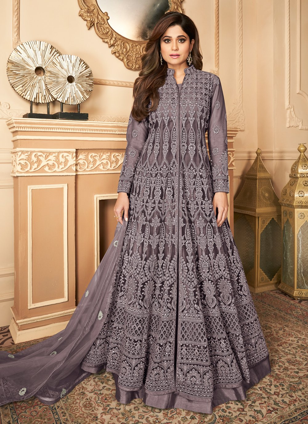 Shamita Shetty Net Resham Floor Length Anarkali Suit