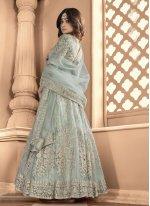 Shamita Shetty Net Resham Floor Length Anarkali Suit
