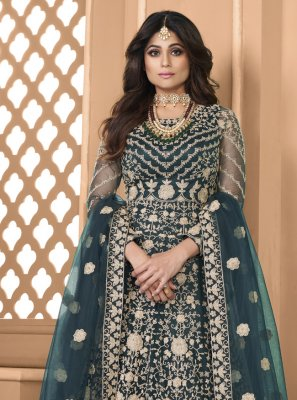 Shamita Shetty Net Teal Embroidered Floor Length Anarkali Suit