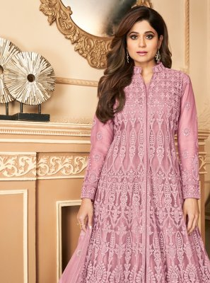Shamita Shetty Pink Resham Designer Floor Length Salwar Suit