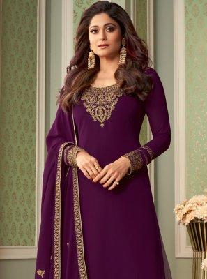 Shamita Shetty Purple Faux Georgette Designer Palazzo Salwar Kameez