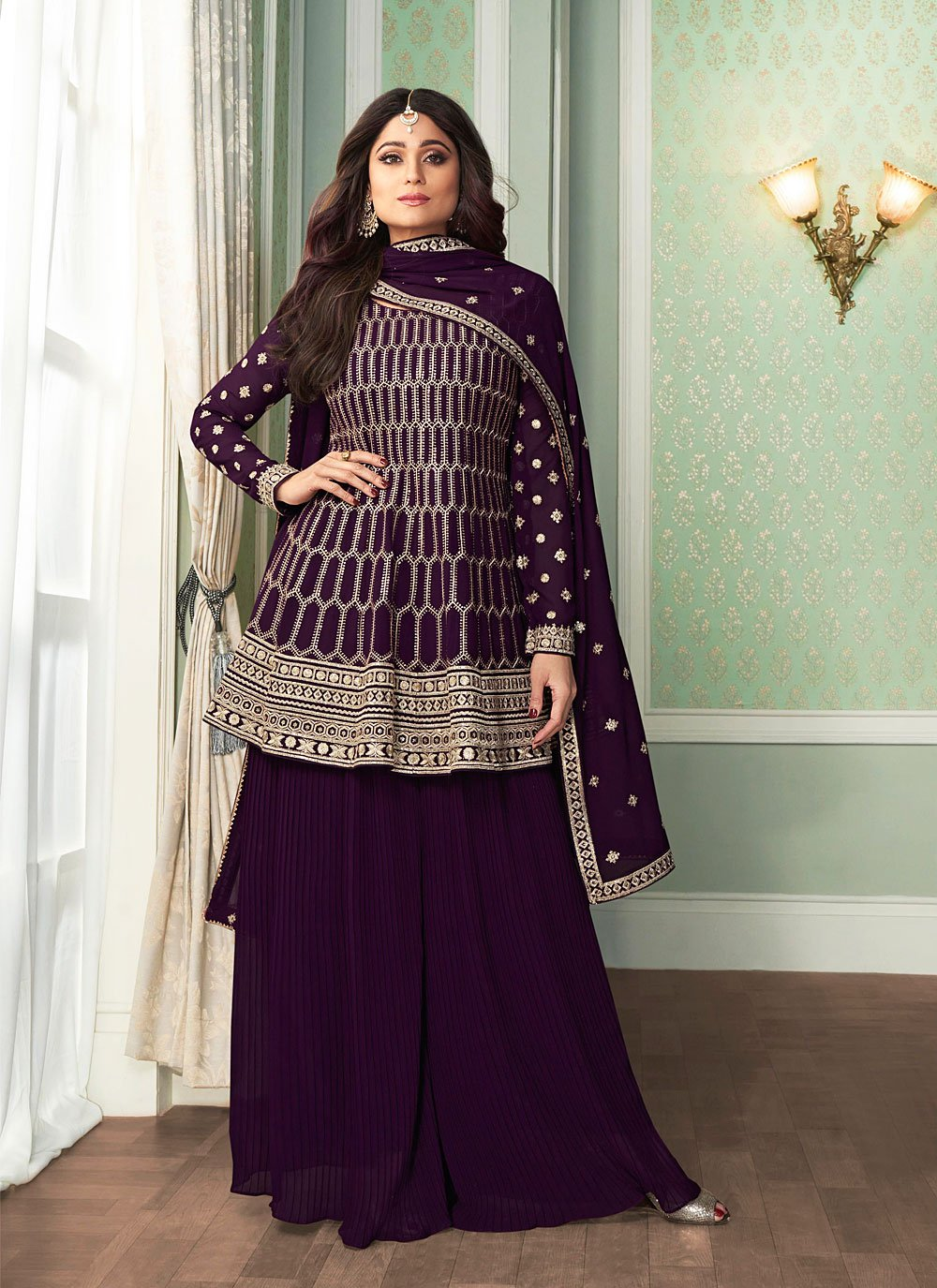 Shamita Shetty Purple Faux Georgette Embroidered Designer Palazzo Salwar Kameez