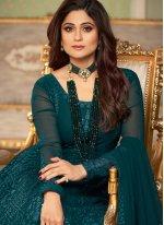 Shamita Shetty Teal Faux Georgette Floor Length Anarkali Suit
