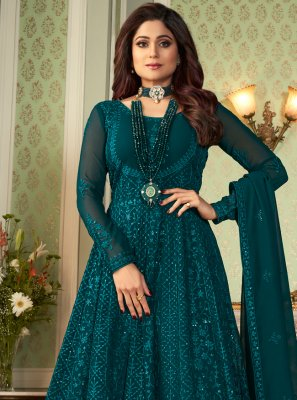 Shamita Shetty Teal Faux Georgette Floor Length Anarkali Suit