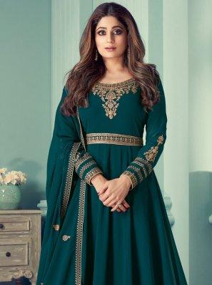Shamita Shetty Teal Festival Designer Suit