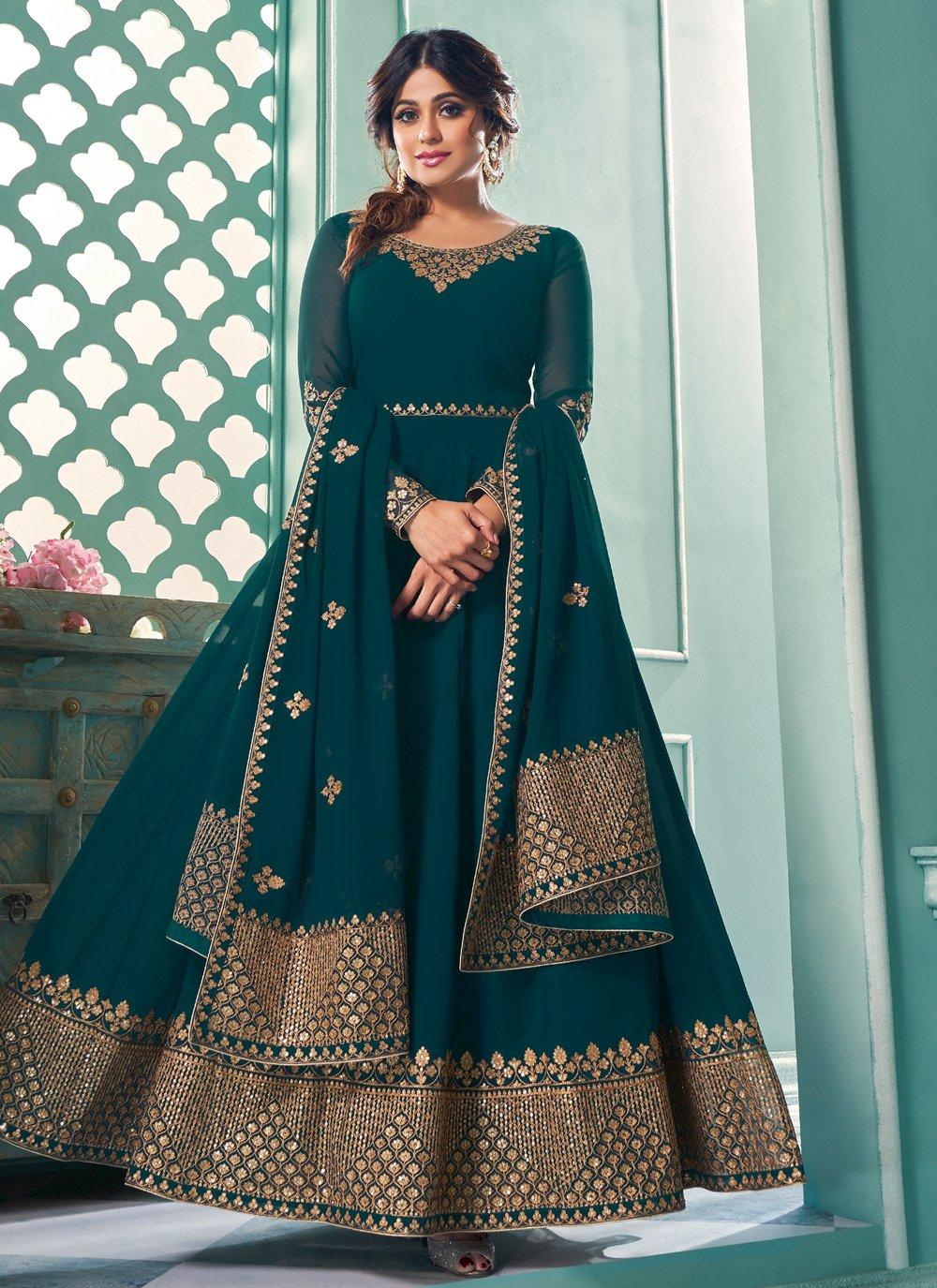 Shamita Shetty Teal Mehndi Floor Length Anarkali Suit