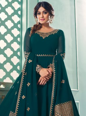 Shamita Shetty Teal Mehndi Floor Length Anarkali Suit