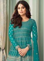 Shamita Shetty Turquoise Faux Georgette Designer Palazzo Suit