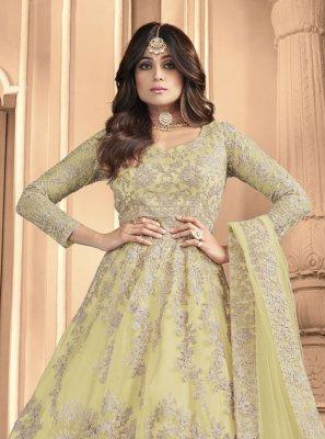 Shamita Shetty Yellow Embroidered Floor Length Anarkali Suit