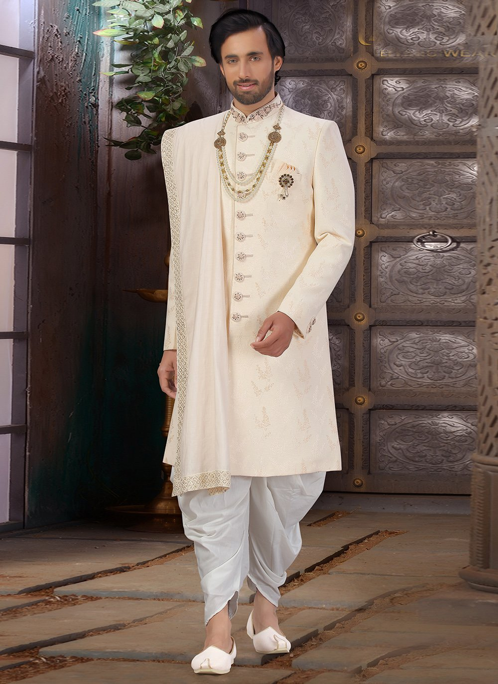 Sherwani Embroidered Art Silk in Off White