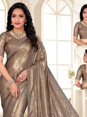 Shimmer Brown Designer Saree