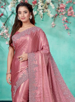 Shimmer Georgette Mauve  Embroidered Designer Traditional Saree