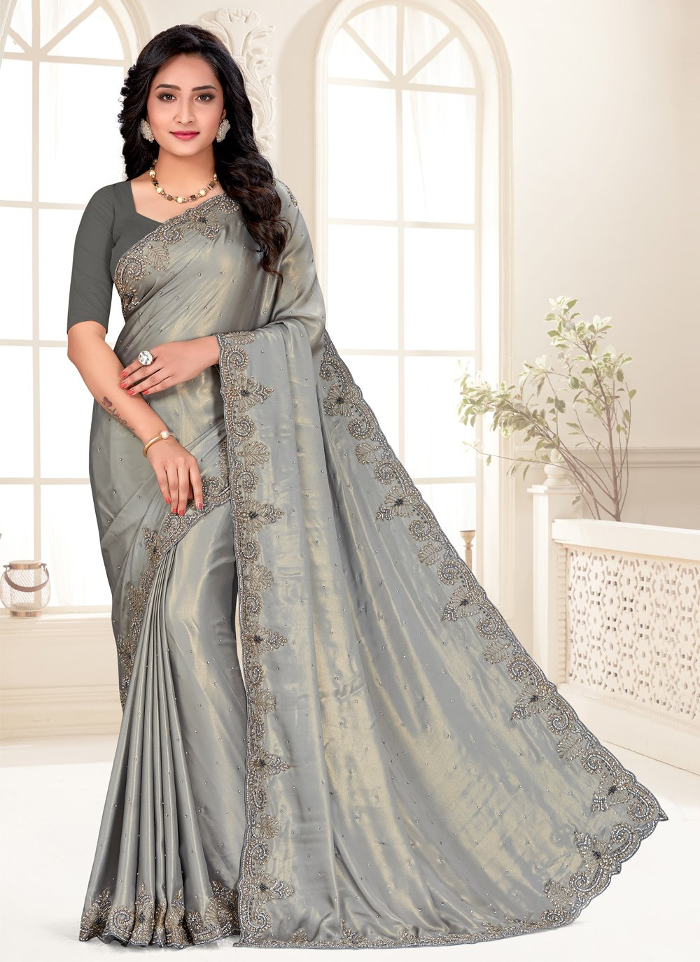 Shimmer Grey Embroidered Classic Designer Saree