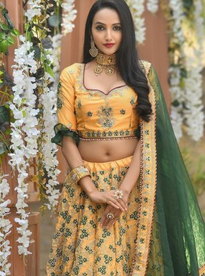 Silk A Line Lehenga Choli in Yellow