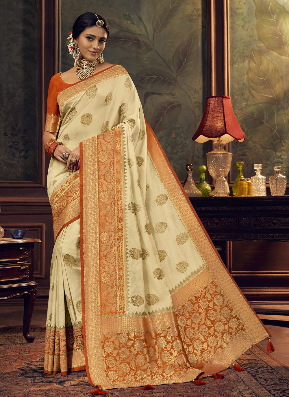 Silk Aqua Blue and Cream Designer Traditional Saree