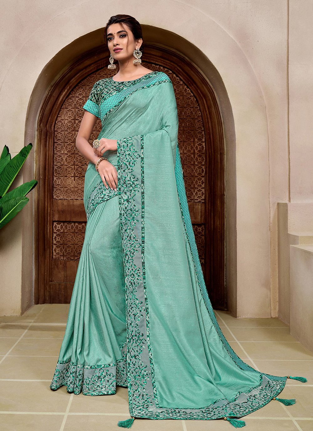 Silk Aqua Blue Classic Saree