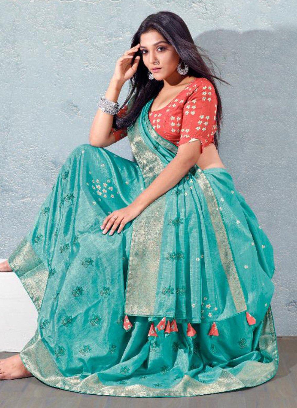 Silk Aqua Blue Fancy Designer Traditional Saree