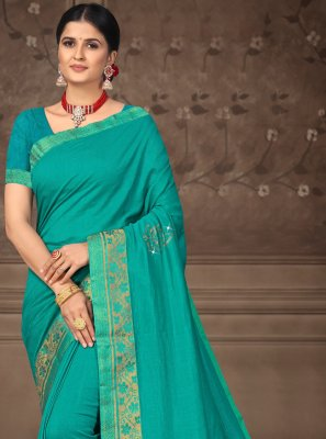 Silk Aqua Blue Trendy Saree