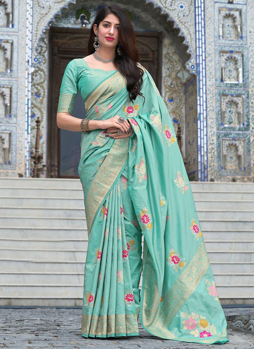 Silk Aqua Blue Woven Designer Traditional Saree