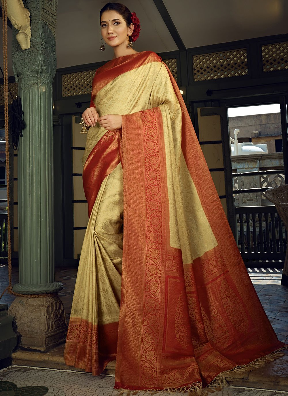 Silk Beige and Red Weaving Designer Traditional Saree