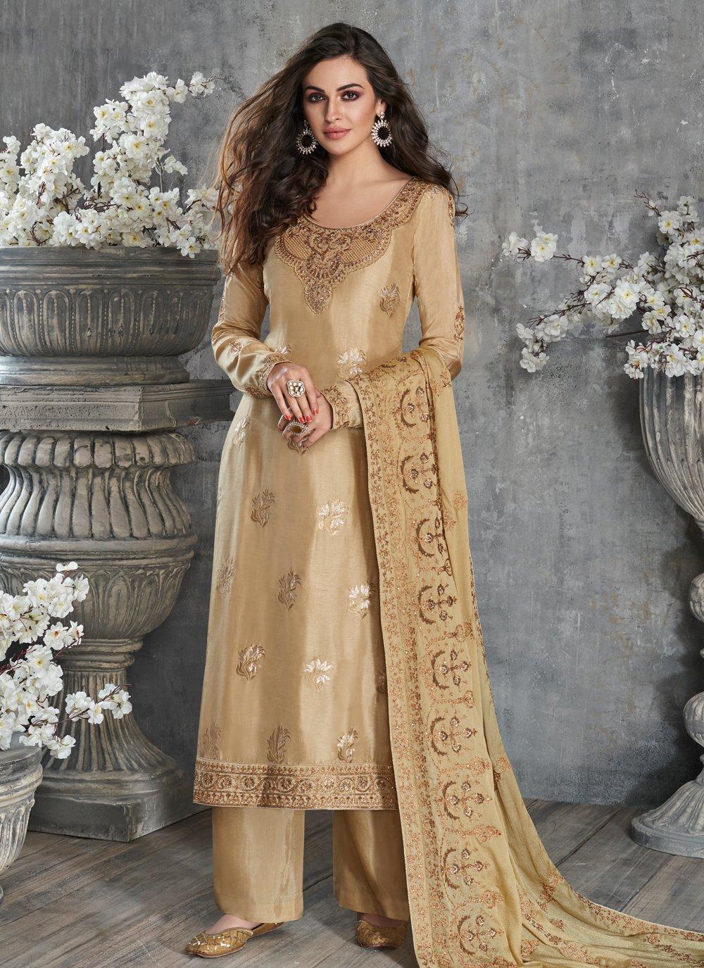 Silk Beige Designer Palazzo Salwar Kameez