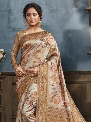 Silk Beige Designer Traditional Saree