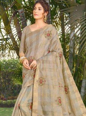 Silk Beige Embroidered Traditional Designer Saree