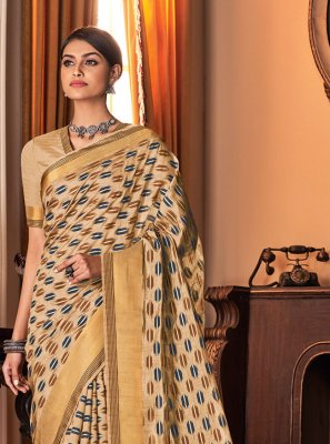 Silk Beige Printed Traditional Saree