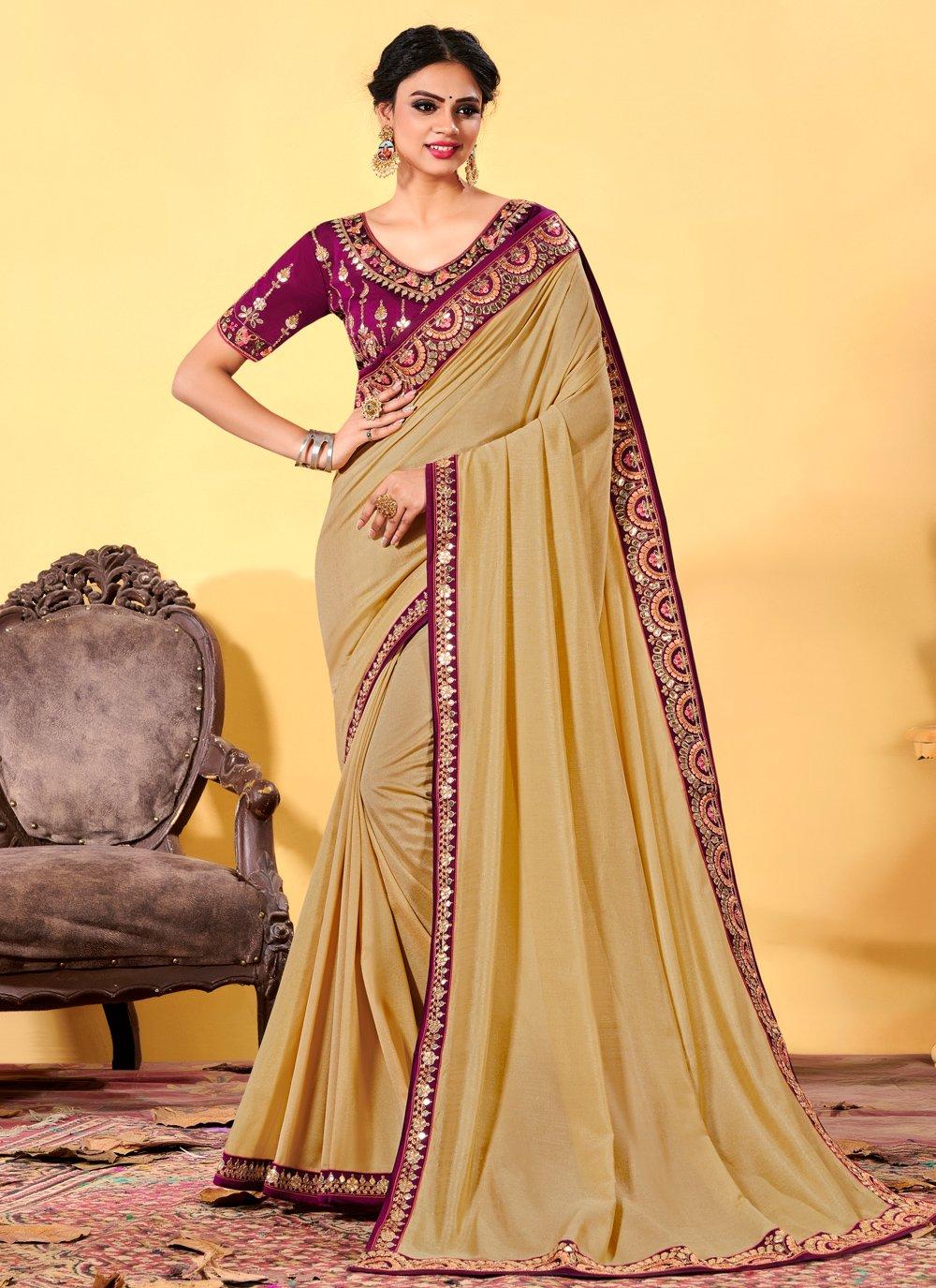 Silk Beige Traditional Designer Saree