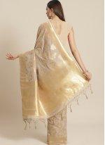 Silk Beige Weaving Traditional Saree